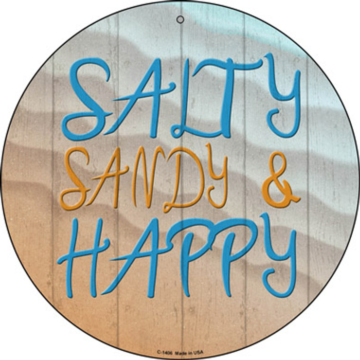 Salty Sandy and Happy Novelty Metal Circular Sign
