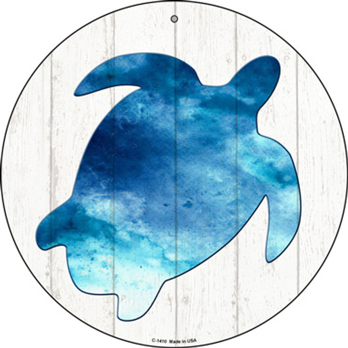Seaturtle Silhouette Novelty Metal Circular Sign