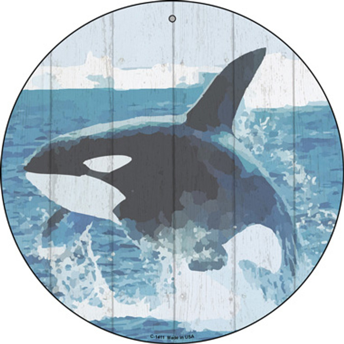Whale Out of Water Novelty Metal Circular Sign
