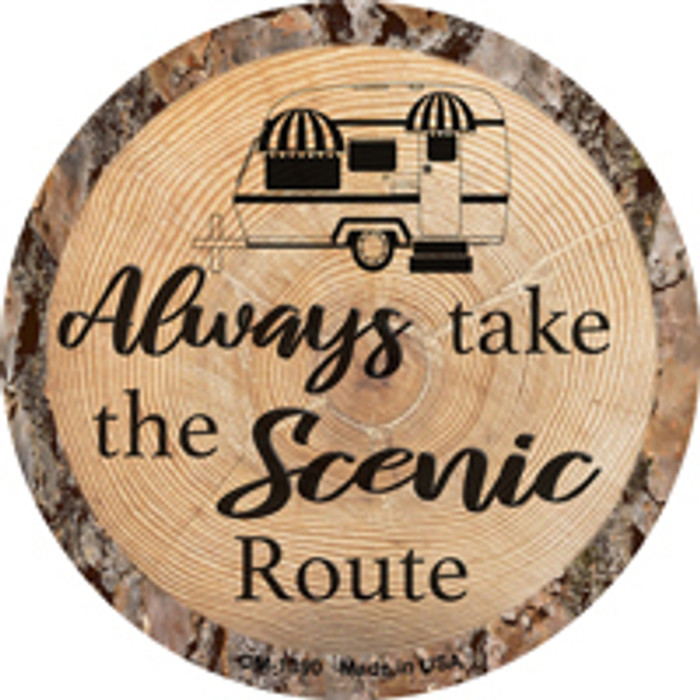 Scenic Route Novelty Metal Mini Circle Magnet