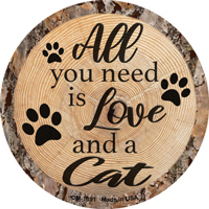 Love and a Cat Novelty Metal Mini Circle Magnet