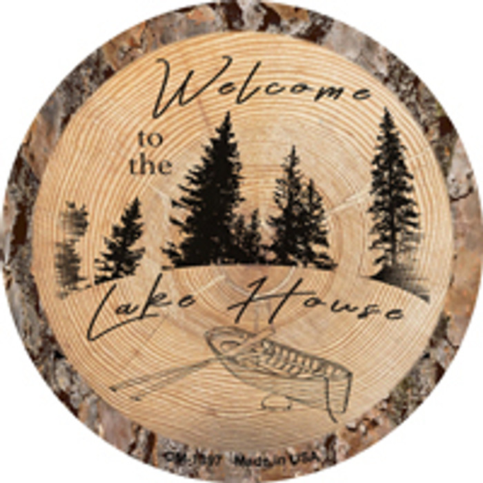 Welcome to the Lake House Novelty Metal Mini Circle Magnet