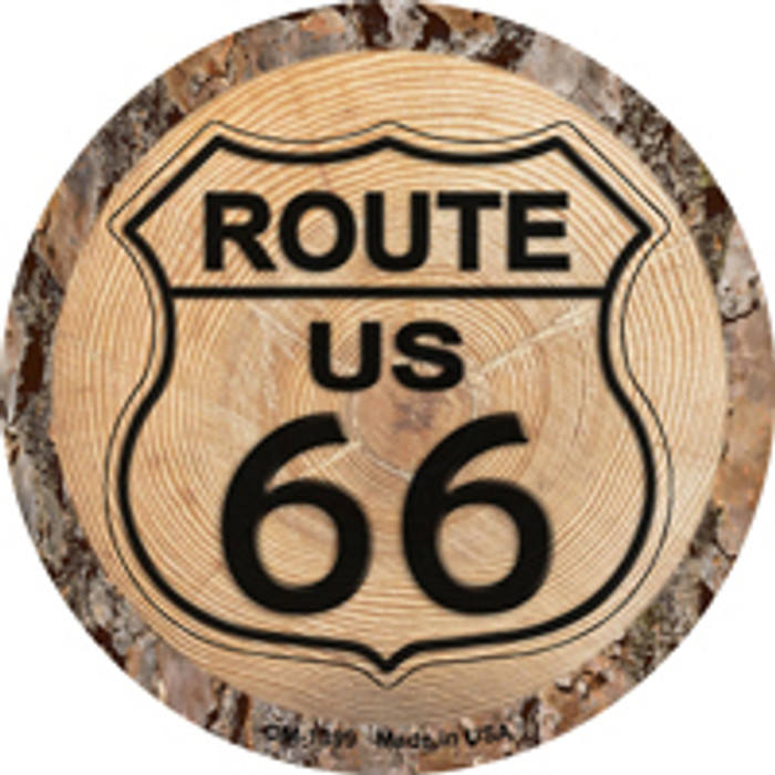 US Route 66 Wood Novelty Metal Mini Circle Magnet