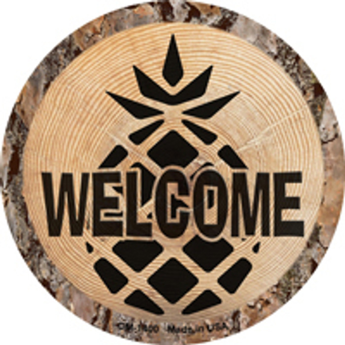 Welcome Pineapple Novelty Metal Mini Circle Magnet