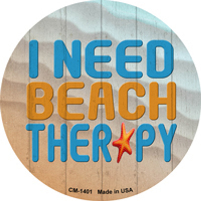 I Need Beach Therapy Novelty Metal Mini Circle Magnet