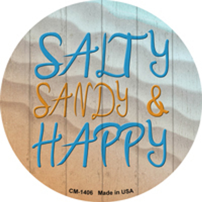 Salty Sandy and Happy Novelty Metal Mini Circle Magnet