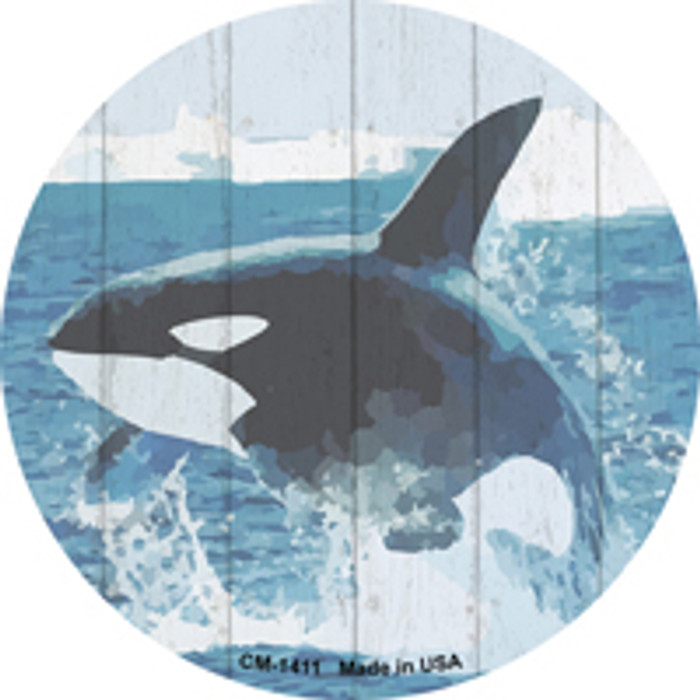 Whale Out of Water Novelty Metal Mini Circle Magnet