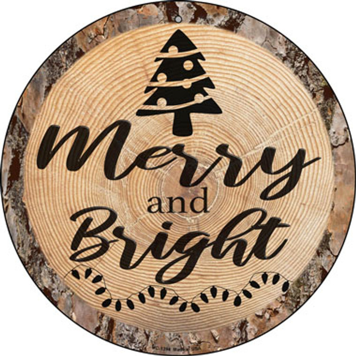 Merry and Bright Novelty Small Metal Circular Sign