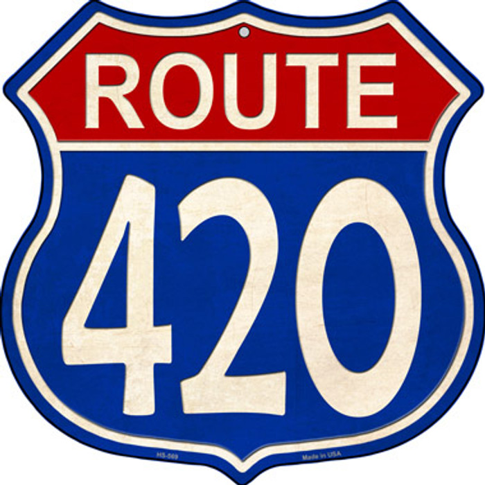 Route 420 Blue and Red Novelty Metal Highway Shield
