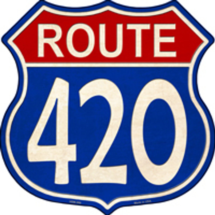 Route 420 Blue and Red Novelty Metal Highway Shield Magnet