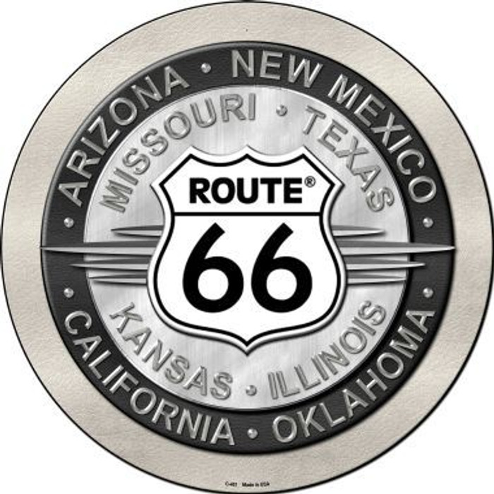 Route 66 States Novelty Metal Circular Sign