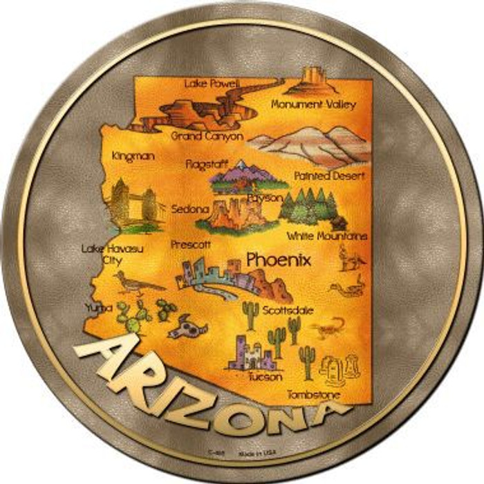 Arizona State Novelty Metal Circular Sign