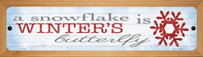 Winters Butterfly Novelty Wood Mounted Small Metal Street Sign