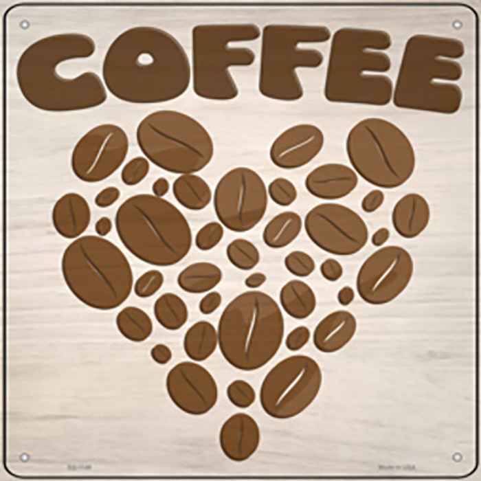 Love Coffee Novelty Metal Square Sign