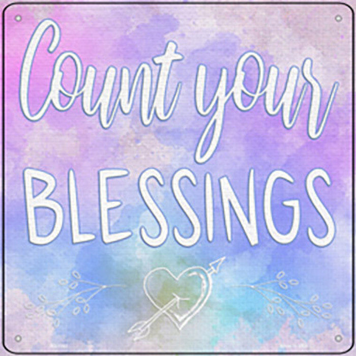 Count Your Blessings Novelty Metal Square Sign