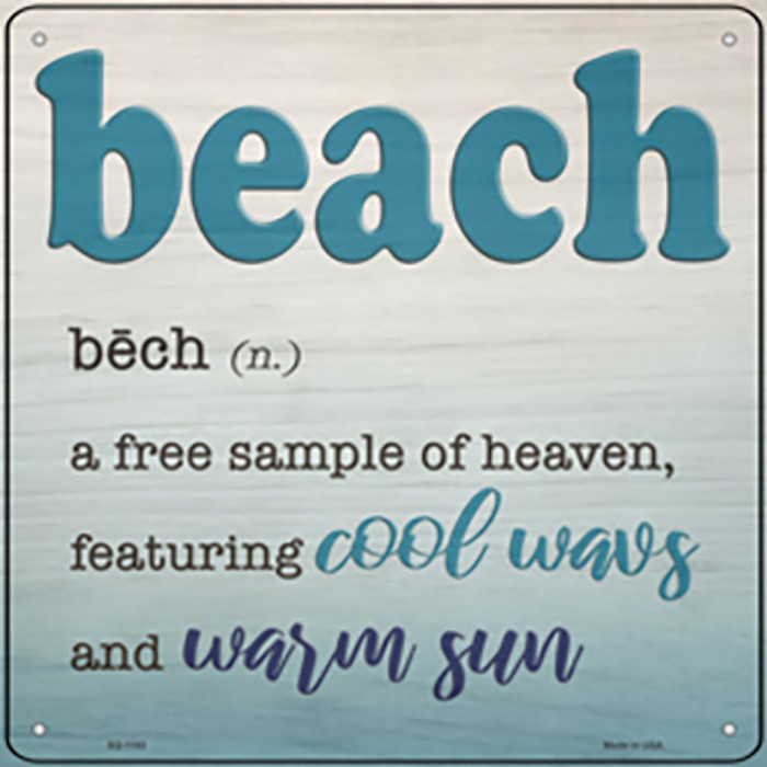Beach Novelty Metal Square Sign