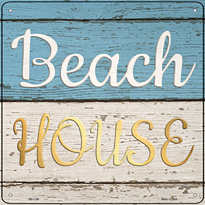 Beach House Novelty Metal Square Sign