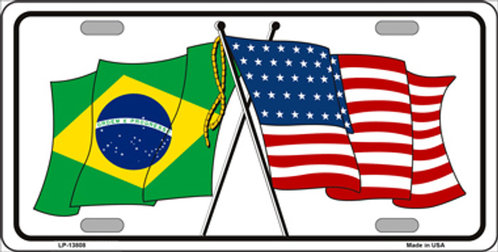 Brazil USA Crossed Flags Novelty Metal License Plate Tag