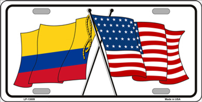 Colombia USA Crossed Flags Novelty Metal License Plate Tag