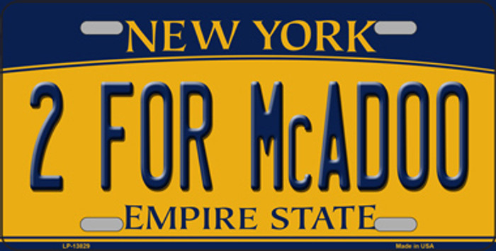 2 For McAdoo New York Novelty Metal License Plate Tag