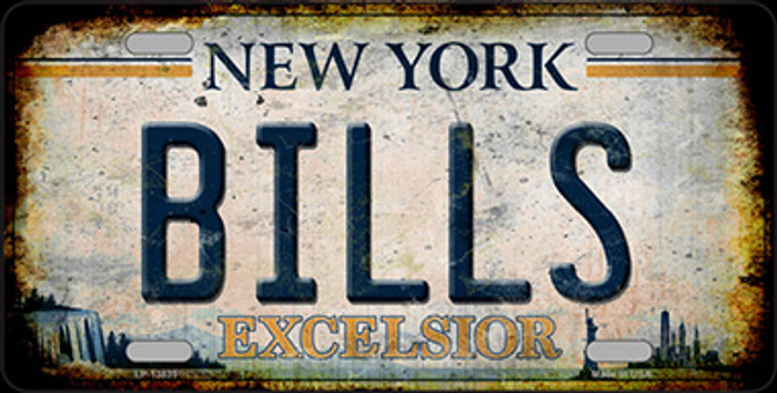 Bills Excelsior New York Rusty Novelty Metal License Plate Tag