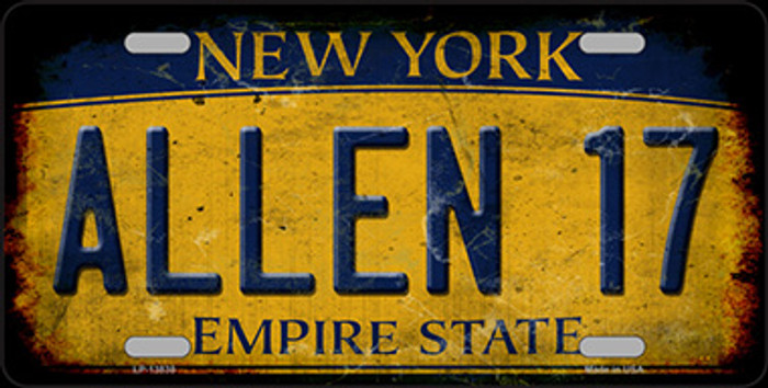 Allen 17 New York Yellow Novelty Metal License Plate Tag
