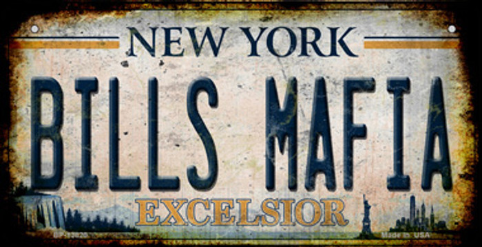 Bills Mafia New York Rusty Novelty Metal Bicycle Plate