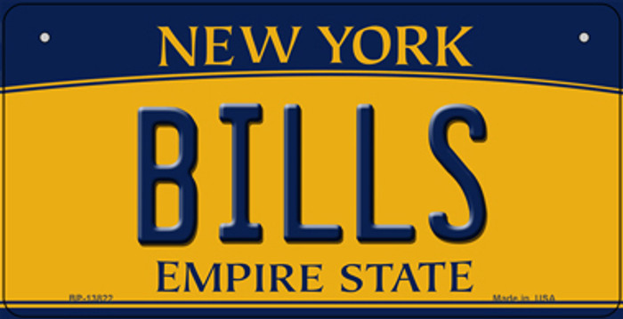 Bills New York Yellow Novelty Metal Bicycle Plate