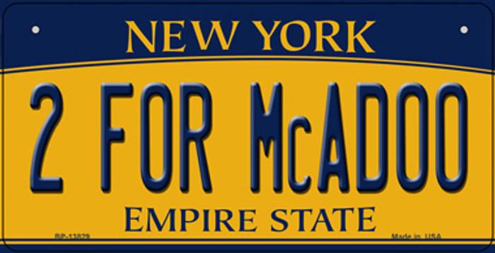 2 For McAdoo New York Novelty Metal Bicycle Plate