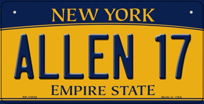 Allen 17 New York Novelty Metal Bicycle Plate