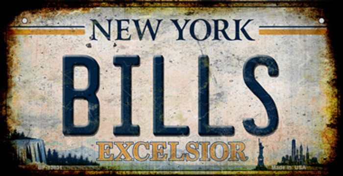 Bills Excelsior New York Rusty Novelty Metal Bicycle Plate