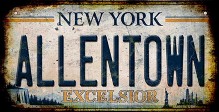 Allentown Excelsior New York Rusty Novelty Metal Bicycle Plate