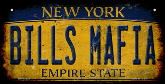 Bills Mafia New York Yellow Rusty Novelty Metal Bicycle Plate