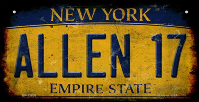 Allen 17 New York Yellow Novelty Metal Bicycle Plate