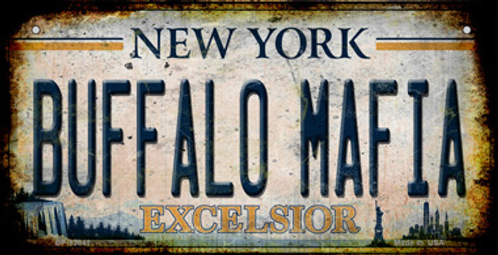 Buffalo Mafia Excelsior New York Rusty Novelty Metal Bicycle Plate
