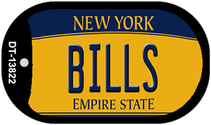 Bills New York Yellow Novelty Metal Dog Tag Necklace