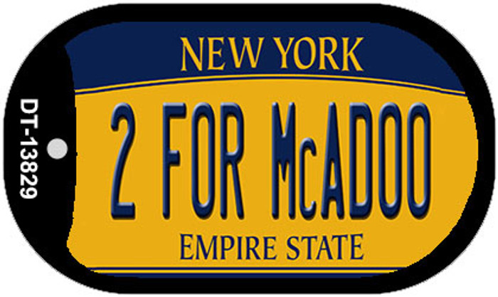 2 For McAdoo New York Novelty Metal Dog Tag Necklace
