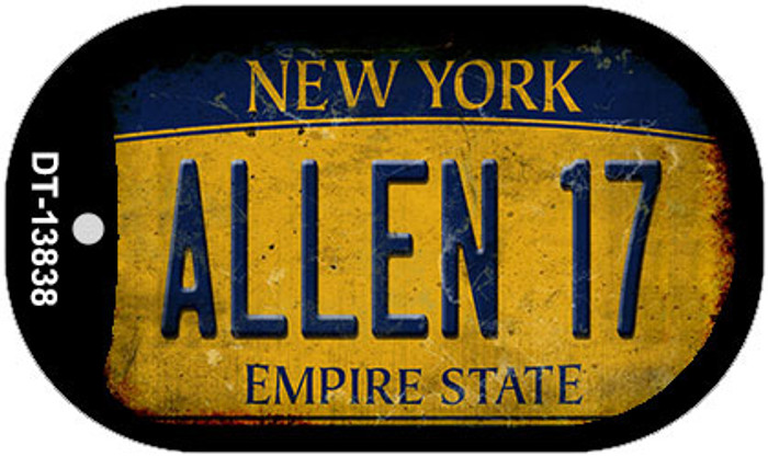 Allen 17 New York Yellow Novelty Metal Dog Tag Necklace