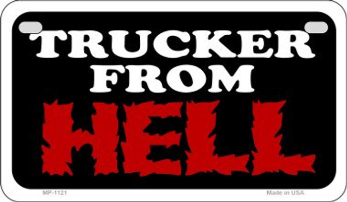 Trucker From Hell Metal Novelty Motorcycle License Plate MP-1121