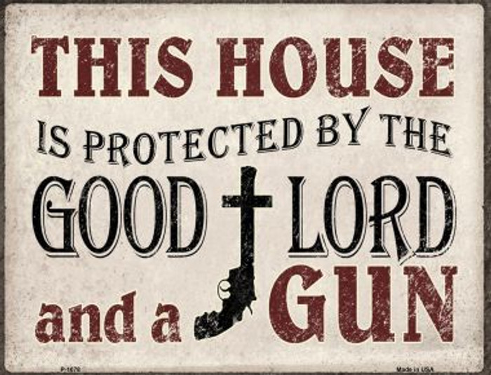 Protected By The Lord And Gun Metal Novelty Parking Sign