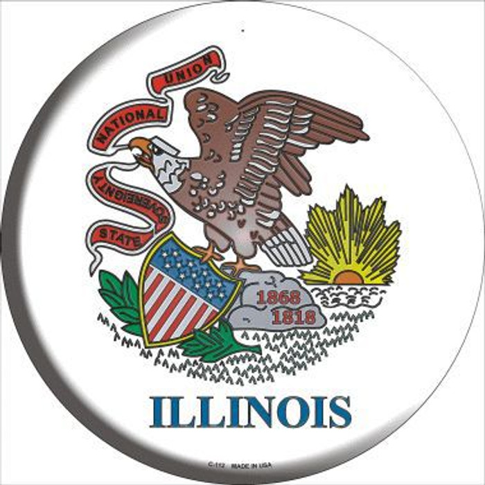 Illinois State Flag Metal Circular Sign