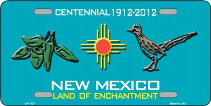 Green Chili & Road Runner New Mexico Metal Novelty License Plate