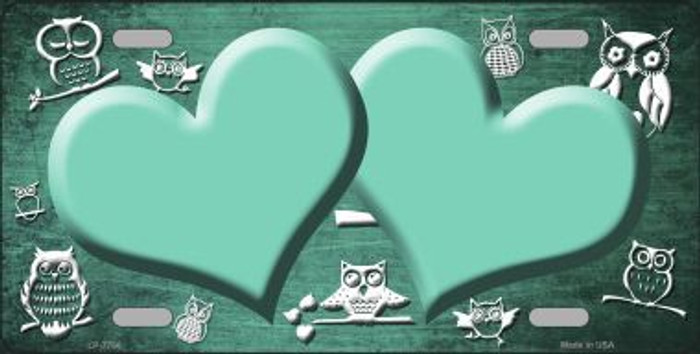 Mint White Owl Hearts Oil Rubbed Metal Novelty License Plate