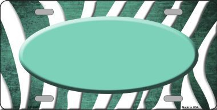 Mint White Zebra Oval Oil Rubbed Metal Novelty License Plate