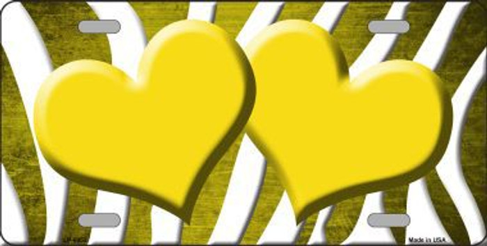 Yellow White Zebra Hearts Oil Rubbed Metal Novelty License Plate