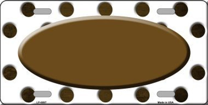 Brown White Dots Oval Oil Rubbed Metal Novelty License Plate