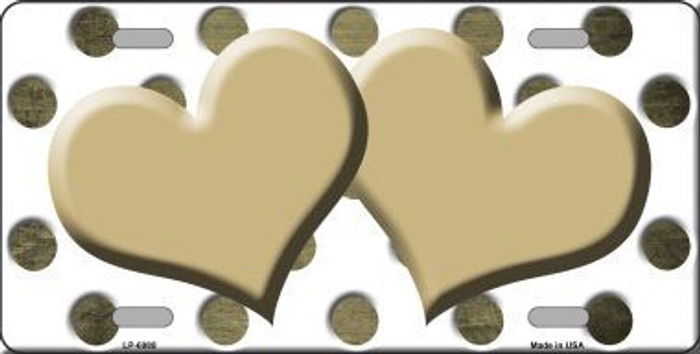 Gold White Dots Hearts Oil Rubbed Metal Novelty License Plate