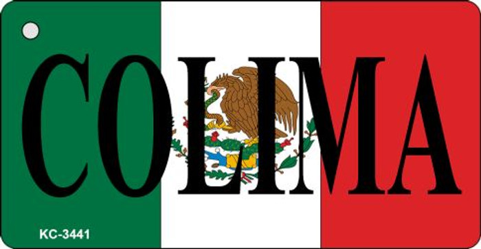 Colima On Flag Mini License Plate Metal Key Chain