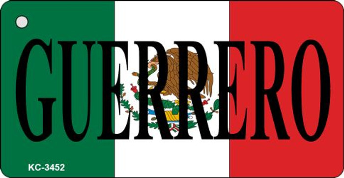 Guerrero On Flag Mini License Plate Metal Key Chain