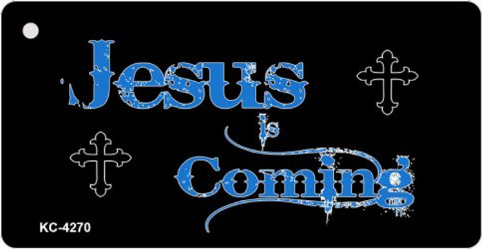 Jesus Coming Mini License Plate Metal Novelty Key Chain